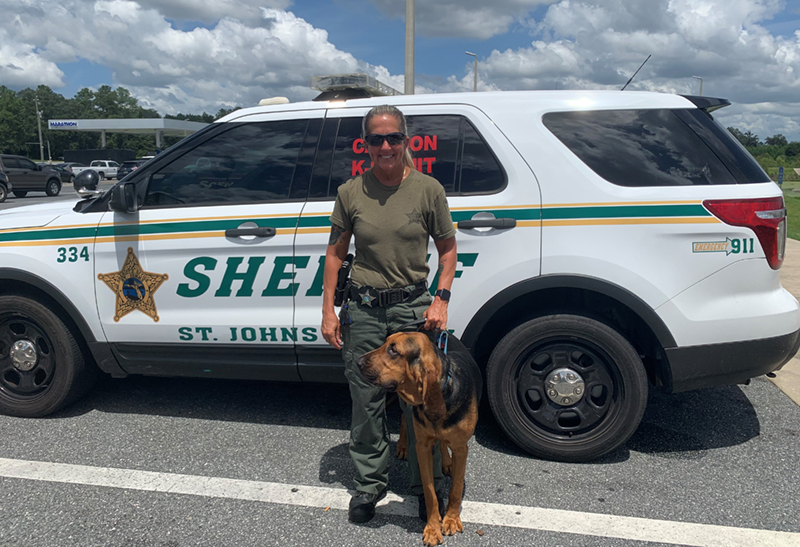 St. Johns County Sheriff's Office Bloodhound Team Confirm Suspect Trail