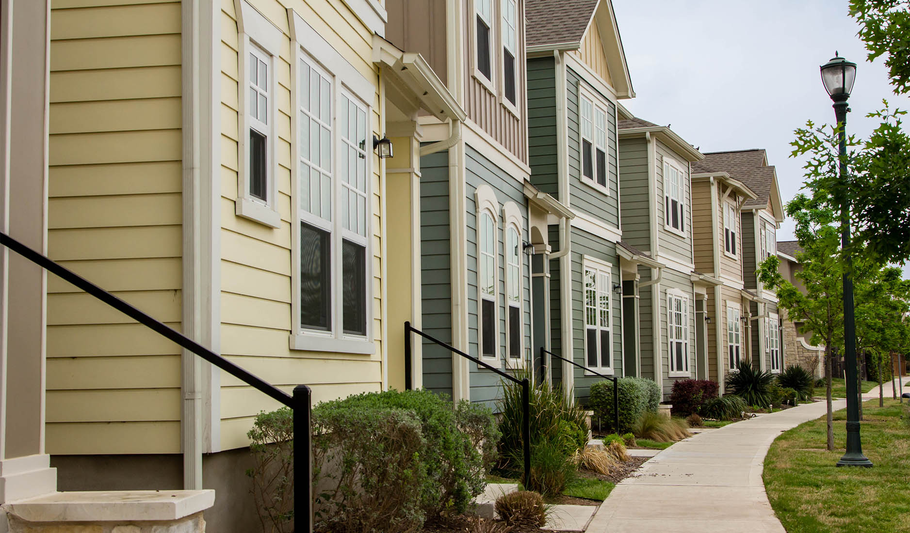 Town Houses in the subdivision of Mueller in Austin, Texas.