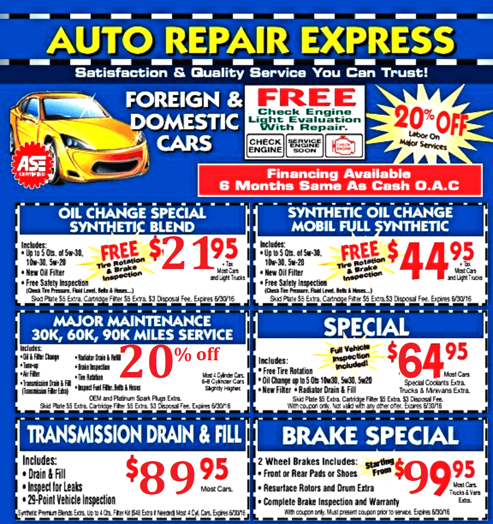 auto repair express coupons