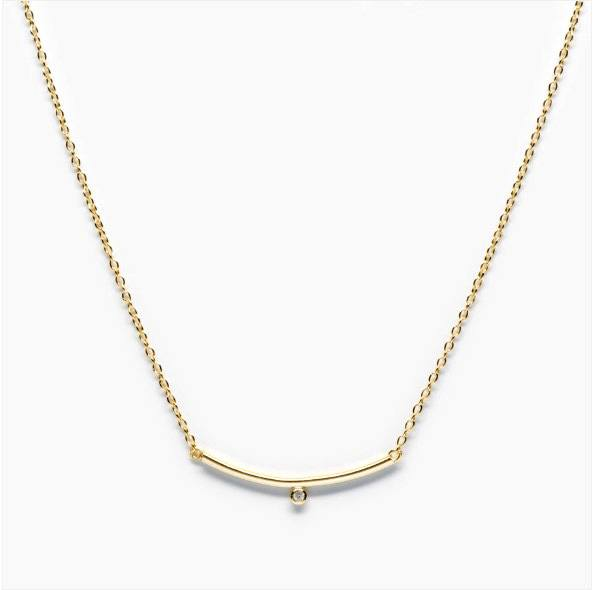 THE WIRE BAR TINY CUBIC ZIRCONIA NECKLACE