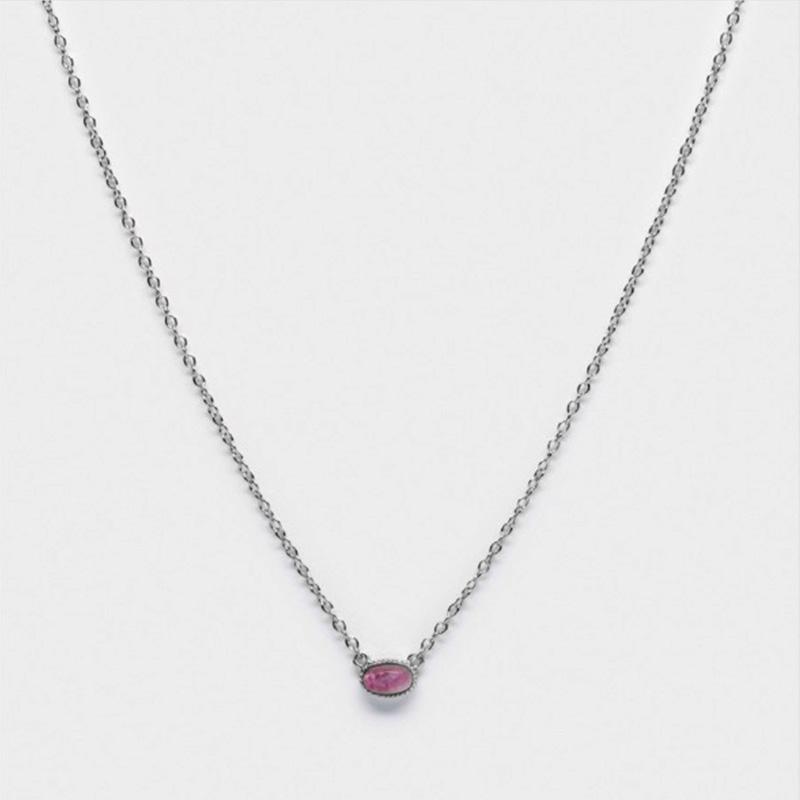 Amethyst Dreams Bezel Necklace Silver