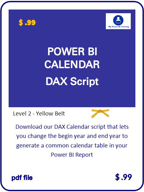 Power BI DAX Calendar Script