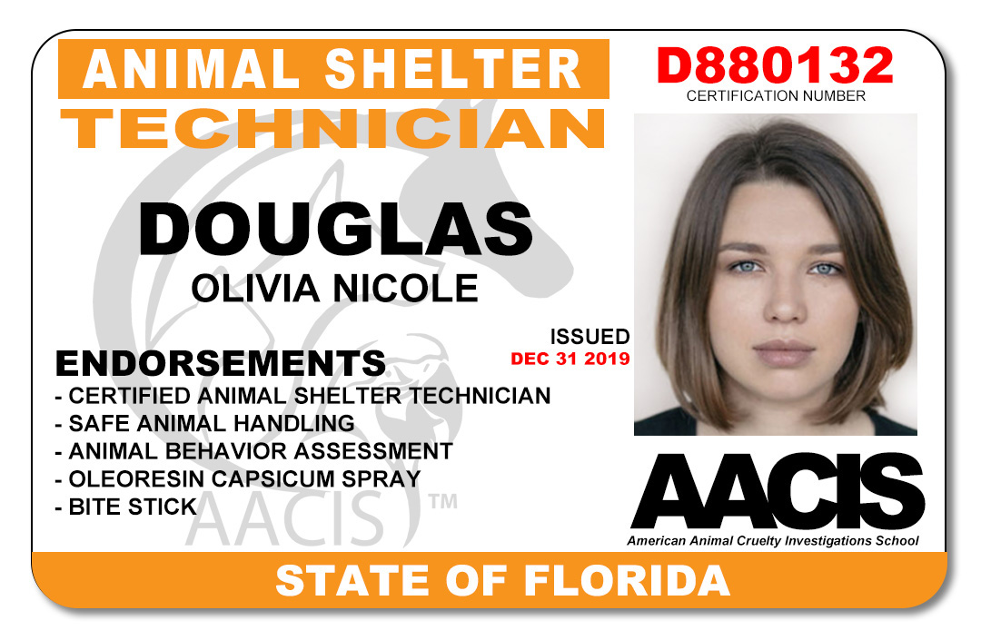 American Animal Cruelty Investigations School (AACIS) Certification Cards