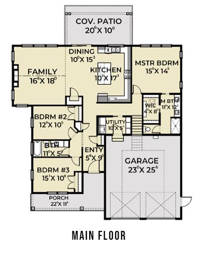 Farmhouse 818 Main Floor Plan