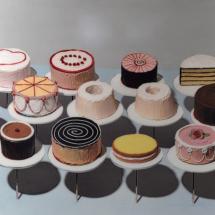 """Wayne Thiebaud artwork, """"Cakes."""" Image by Pplachigo, Wikimedia Commons."""