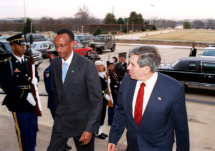 Paul Kagame (left) with Paul Wolfowitz. Public domain image, Wikimedia Commons.