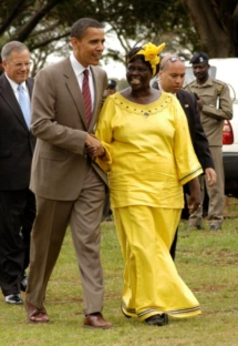 Wangari Maathai with then-senator Barack Obama. Photo by Fredrick Onyango, Wikimedia Commons.