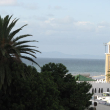 A coastal view of Tangier, Morocco, with Spain in the distance.
