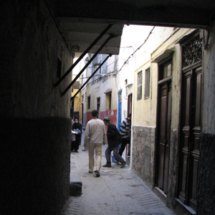 An alleyway in the medina of Tangier, Morocco.