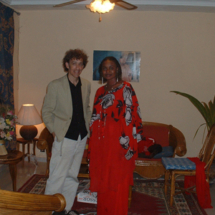 Standing with the Malian singer Oumou Sangare, in the lobby of Sangare's hotel in Bamako (Mali's capital).
