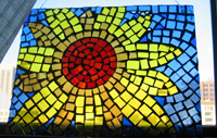 Glass mosaic flower