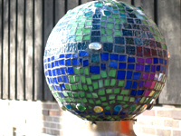 Glass mosaic globe light-closeup
