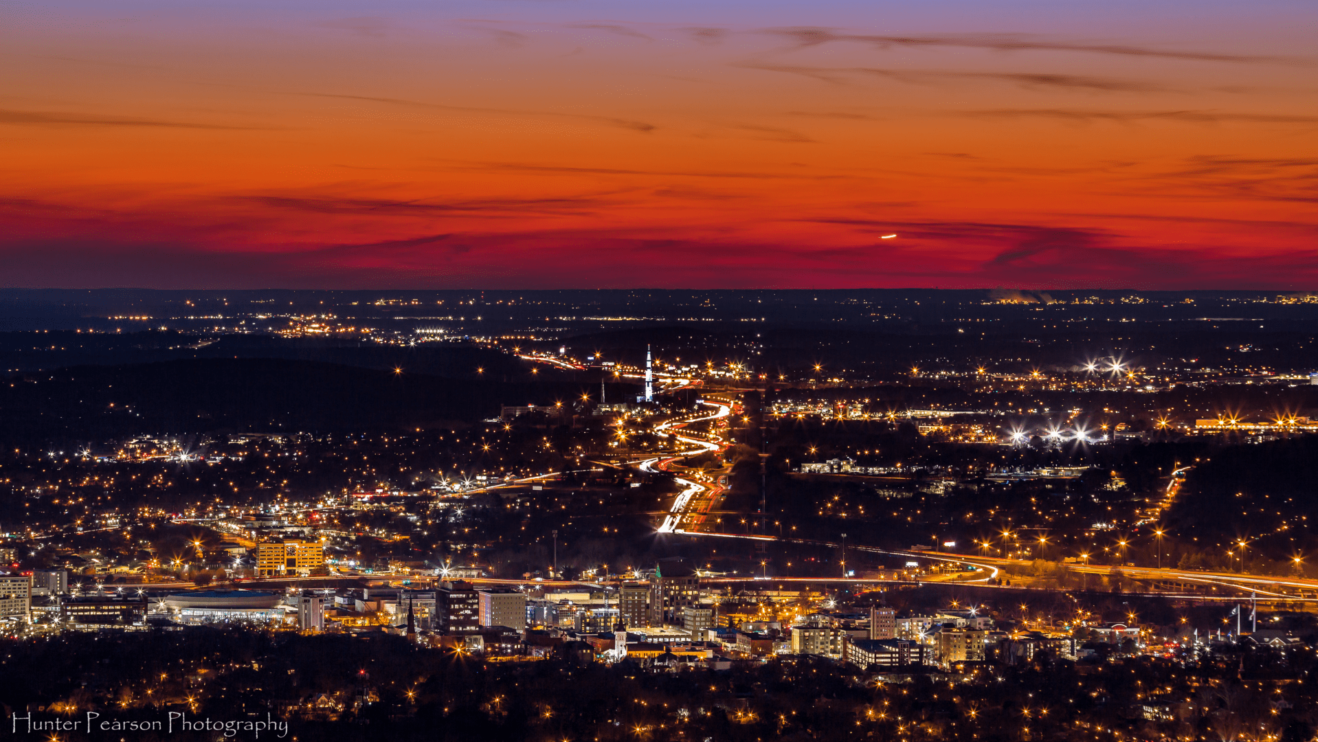 A view of Huntsville at night