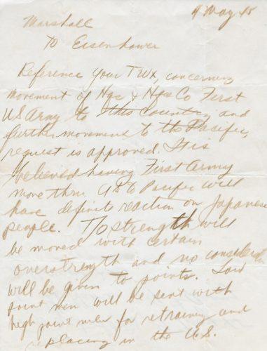 hand-written-letter-from-marshall-to-eisenhower-5-4-45-pg-1