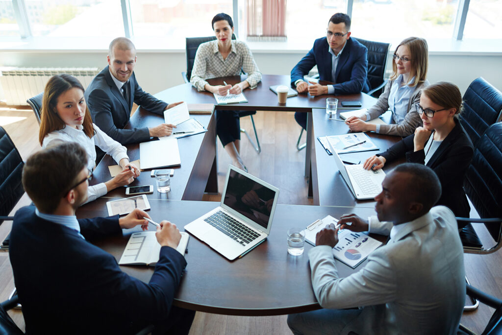 meeting in a board room