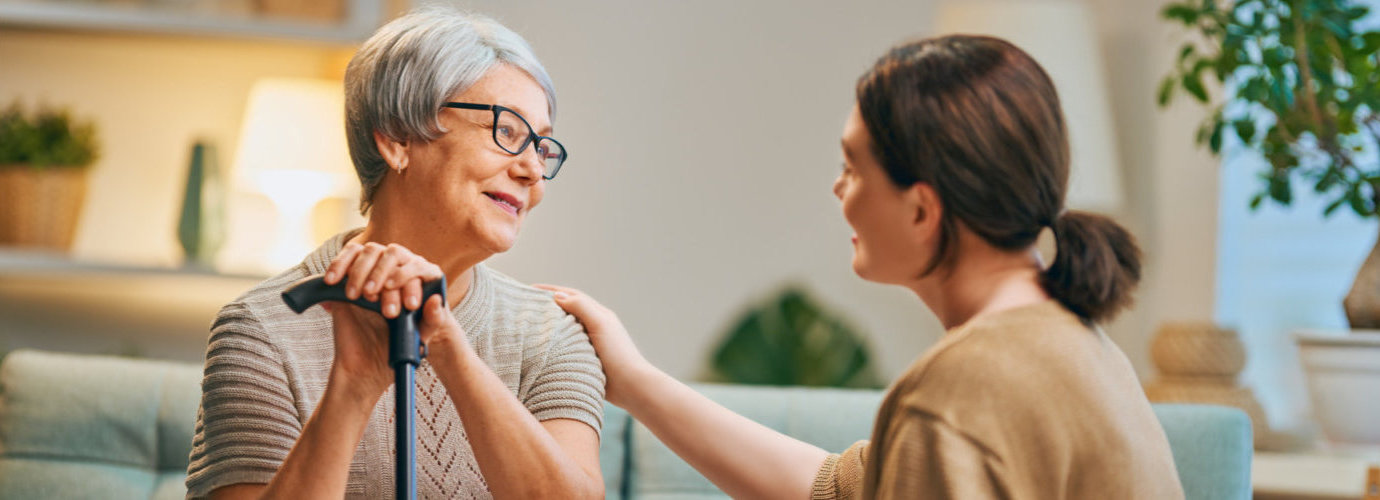caregiver talking to her client