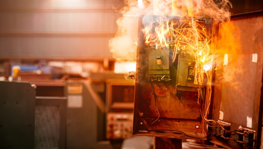 Electricity breaker overloads a short circuit, Old grunge messy fuse box fire burn overheat.