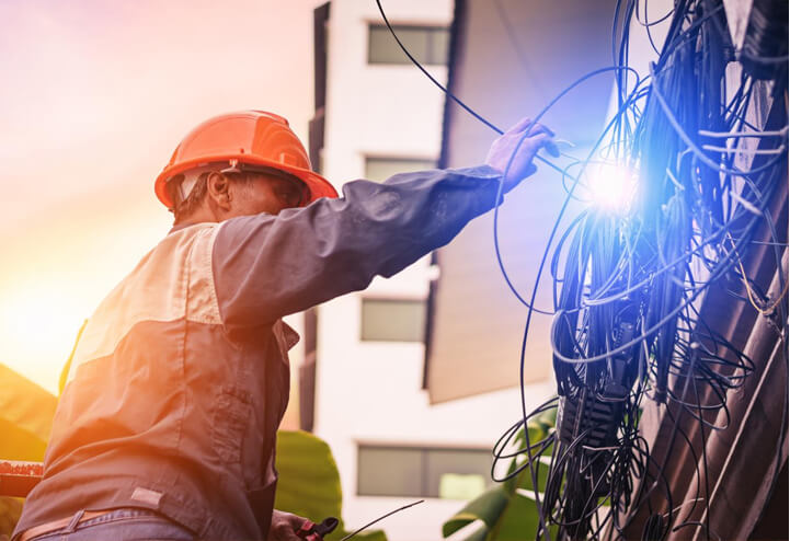 local Residential electrician working on an electrical repair