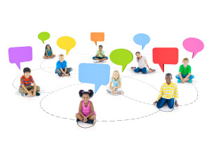 Multi-Ethnic Children Connected and Empty Speech Bubbles Above