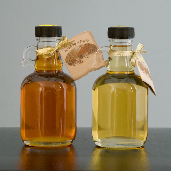 Maple Syrup in Glass Bottles