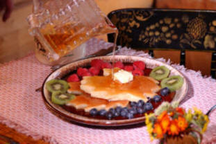 Leaf shaped pancakes with Pure Vermont Maple Syrup