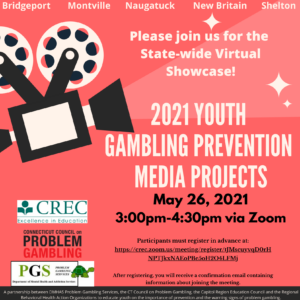 You're Invited: The 2021 Youth Gambling Prevention Media Project Showcase Event! @ Virtual