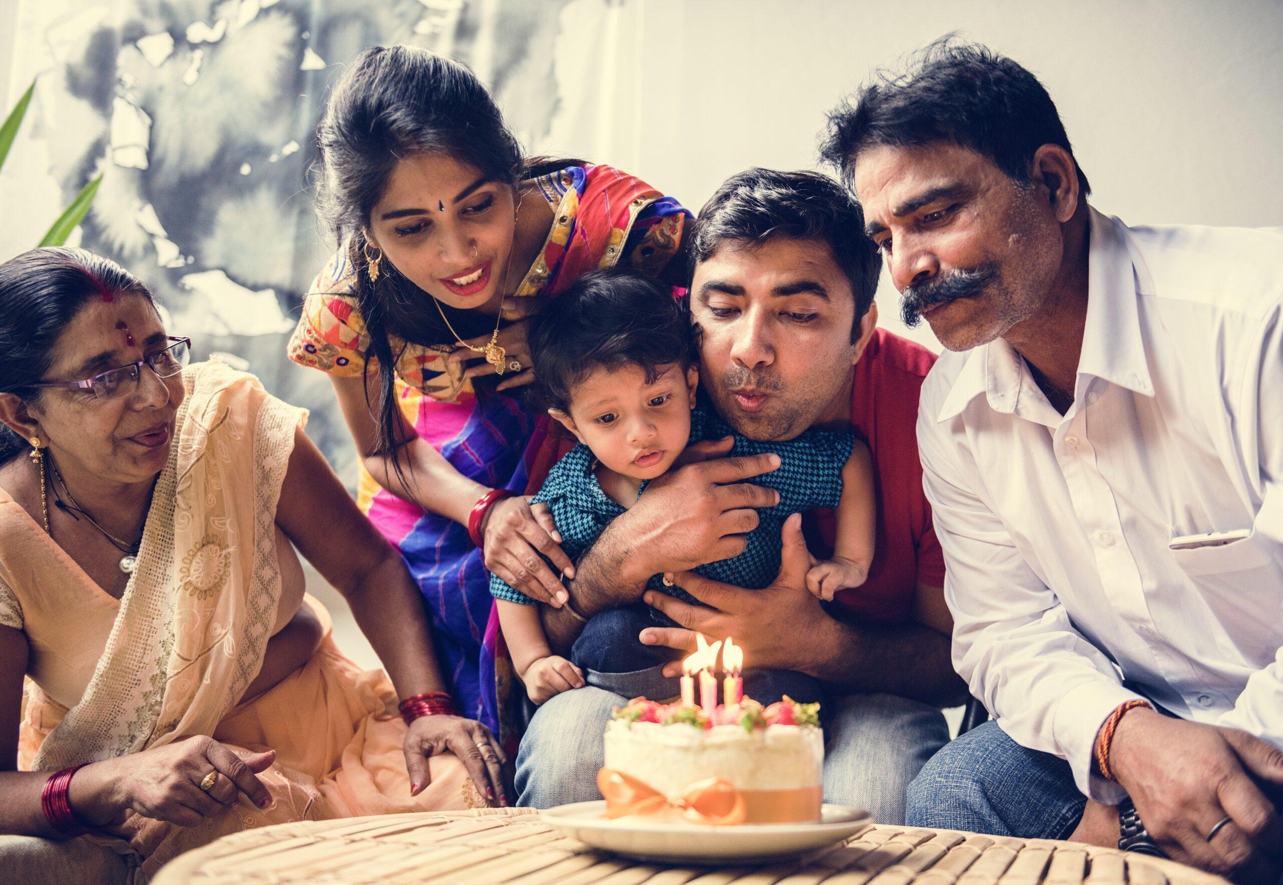 Indian Family Celebrating Birthday