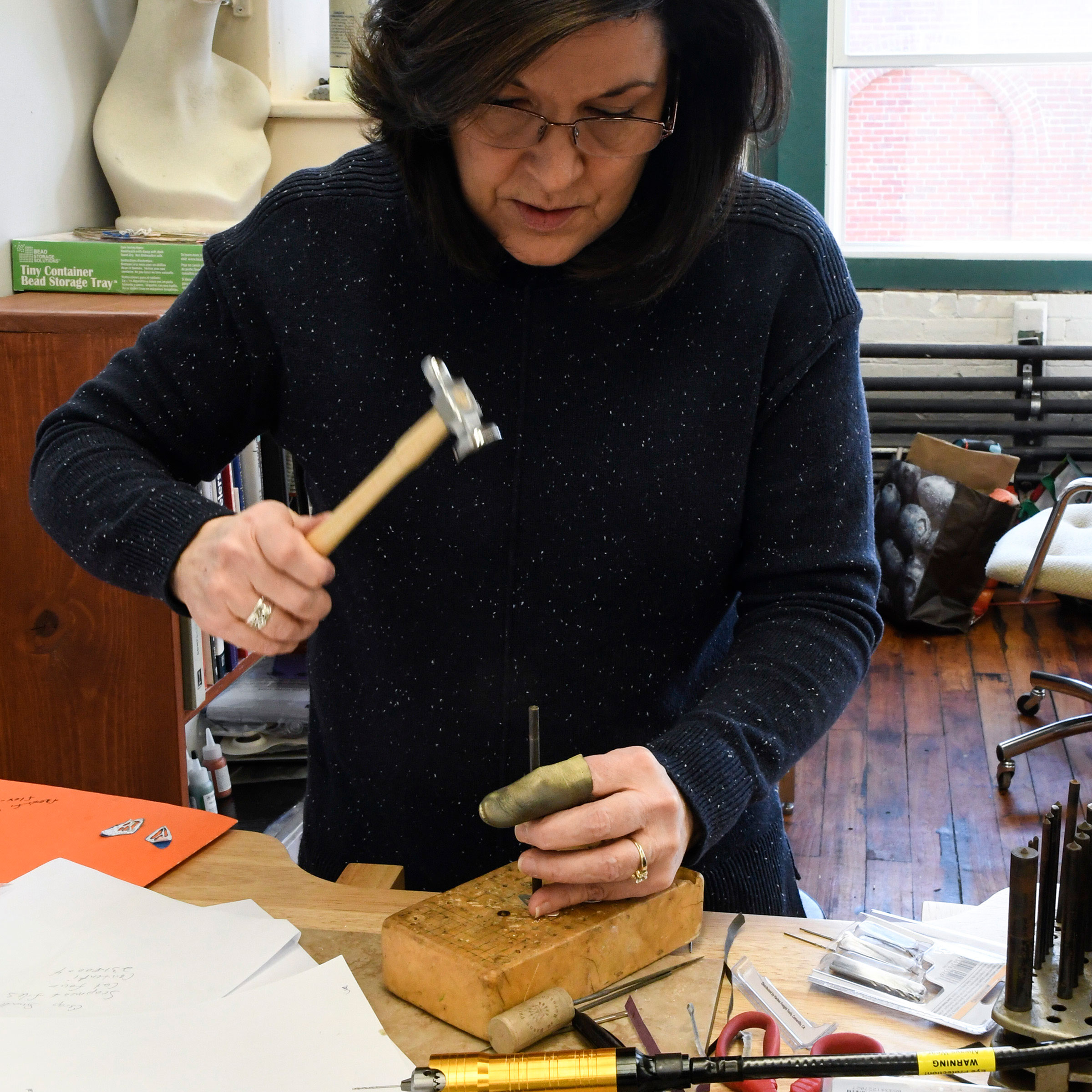 Metal stamping in a beginner's class