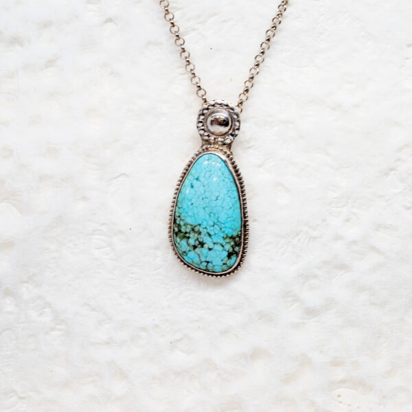 Blue Turquoise Pendant in Sterling Silver