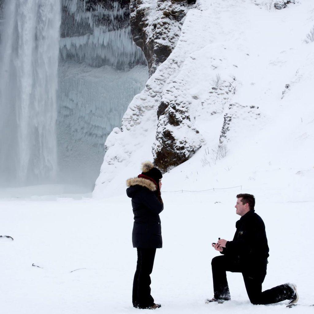 Engagement, Skógafoss waterfall, Iceland, Austin Patton