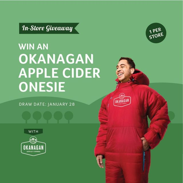 A @swell_source manufactured @okanagancider sleeping bag onesie! Available to win at @cascadialiquor and other fine retailers across Canada!