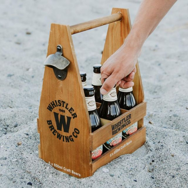 Getting crafty with a @whistlerbrewing 6 pack holder, custom build and stained with an antique finish! Available in the BCLS #manufacturerofeverything #beerpromo #custombuilt  #craftbeer #beer #promotionalproducts