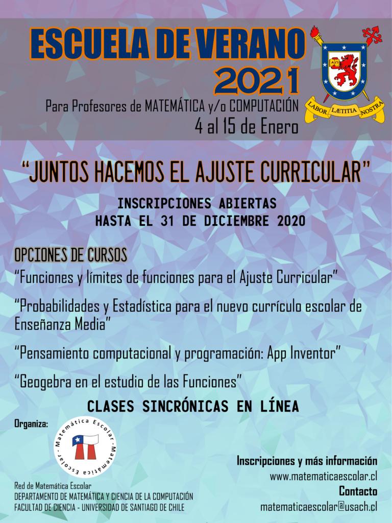 Afiche Escuela de Verano 2021