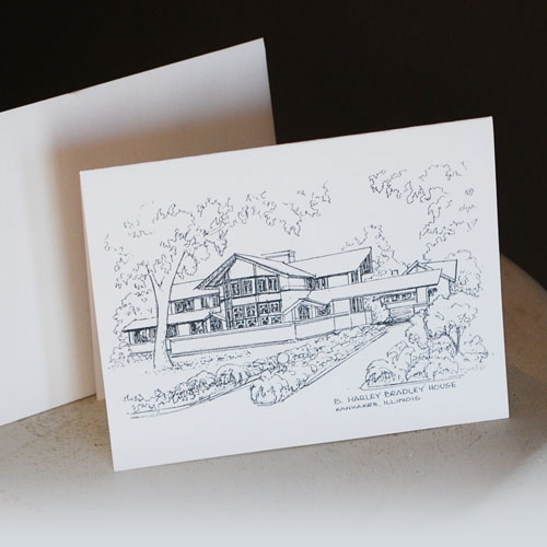 Wright pen and ink drawing notecard image