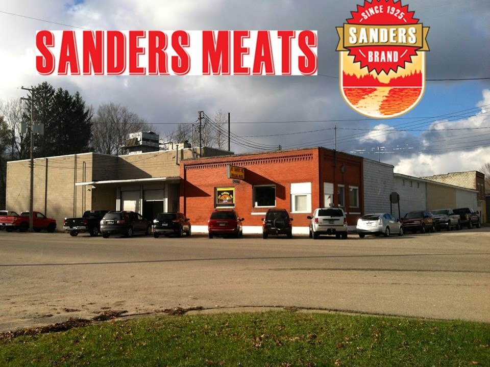 Photo of Sander's Meats store with their logo at the top