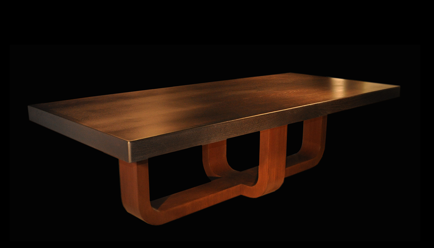 Cosmo Table with Two-U Base walnut pedestal