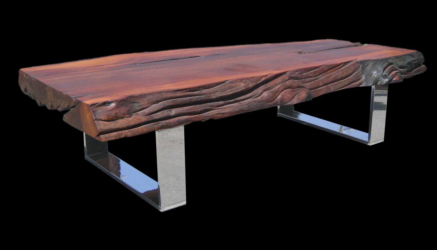 Live-edge Reclaimed Rosewwod Slab Coffee Table