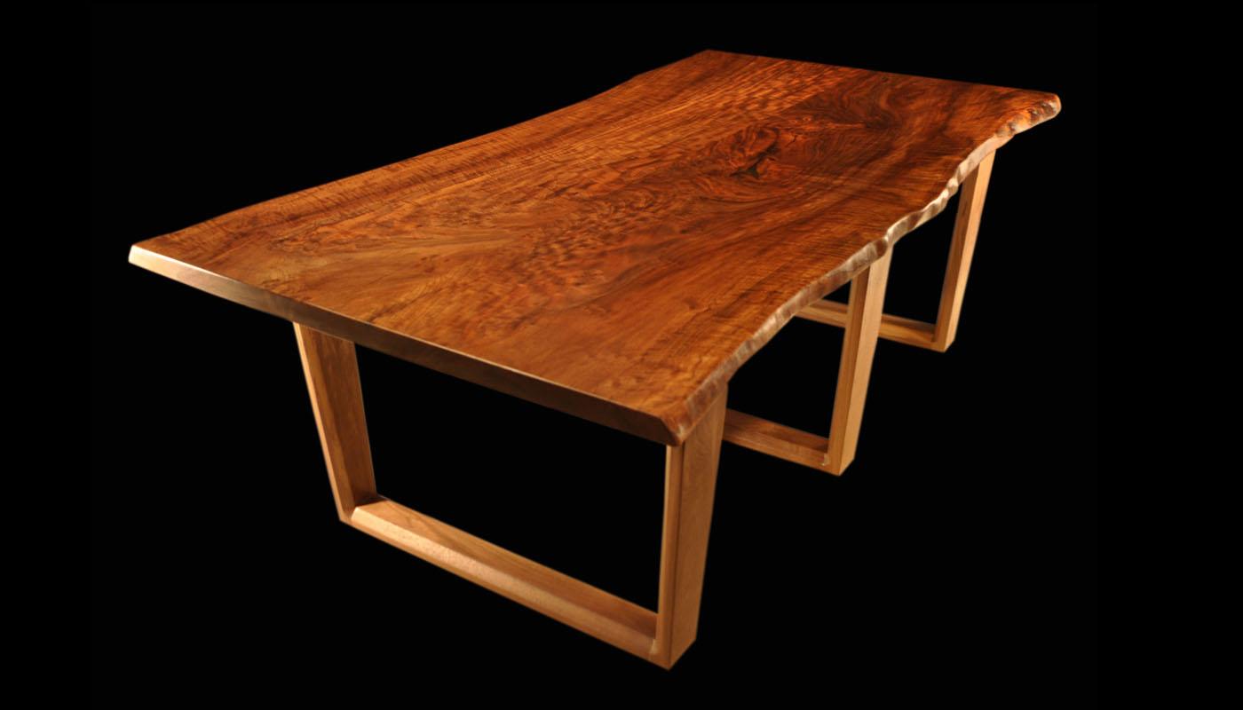 Live-edge Claro-walnut Tall Tree Slab Table with UV-Trestle
