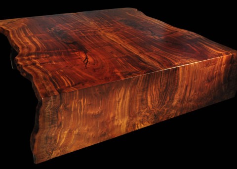 Folded-edge and Book-matched Live-edge Claro-walnut Slab Table