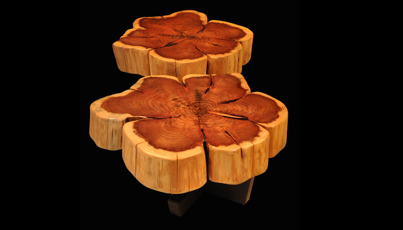 Giant Sequoia with Flower Burl PatternTree Trunk Coffee Table 36-39dia with Trapeze Base