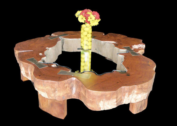 Gigantic Burma Rosewood-Narra/Amboyna Tree Truck Coffee Table