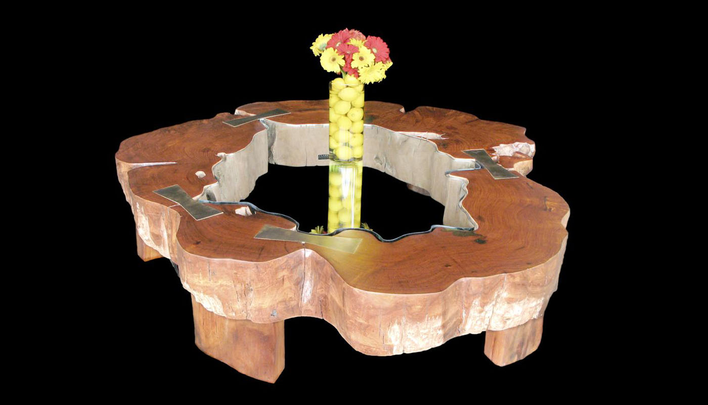 Gigantic Burma Rosewood-Narra/Amboyna Tree Truck Coffee Table