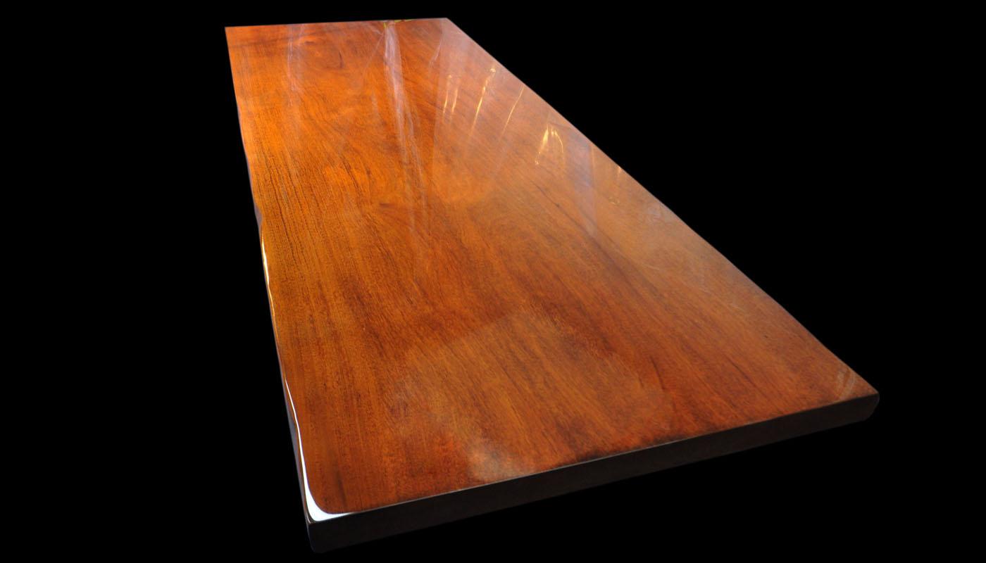 Honduras Mahogany Slab Table in High-gloss