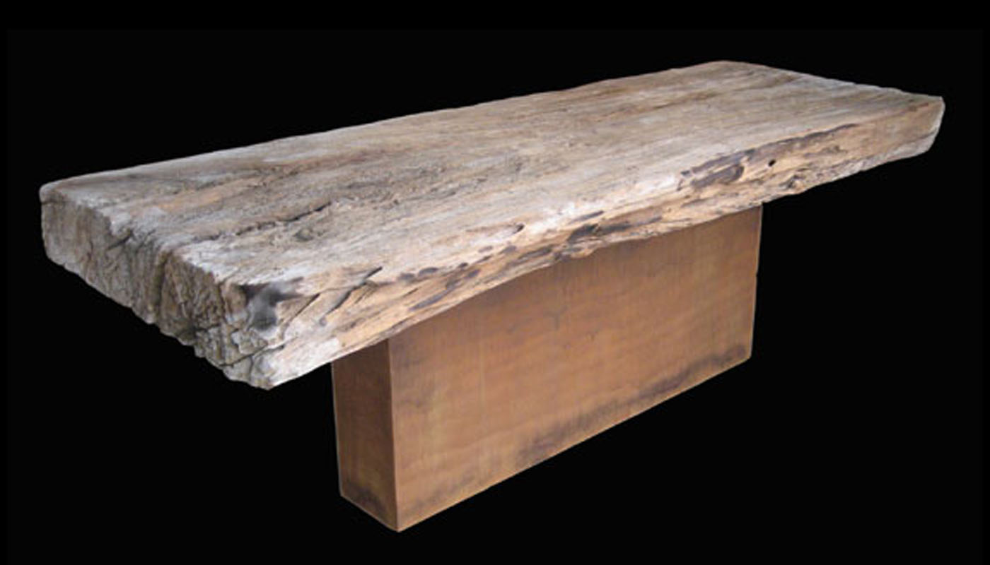 Japanese-brown Prism Pedestal Table Base