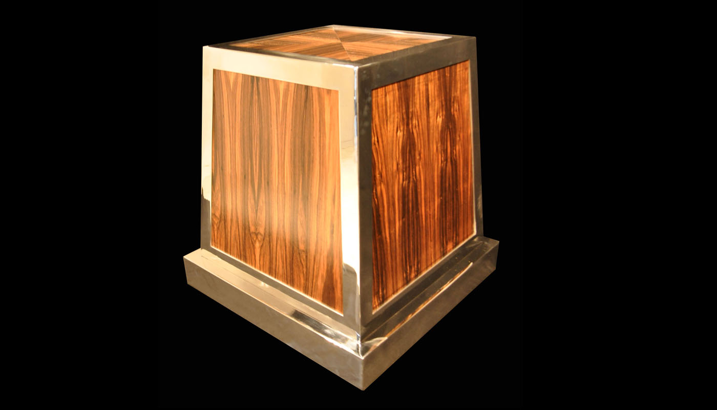 Macassar Ebony Pyramid Table Base in Stainless Steel