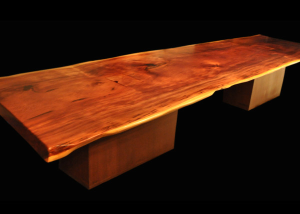 Reclaimed Old Growth 1st Generation Coastal Redwood Slab Table with Japanese-brown Patina Steel Prism Bases