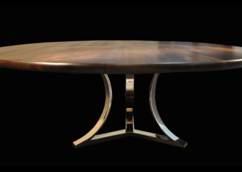 Tri-Arc Chrome Table Base cw