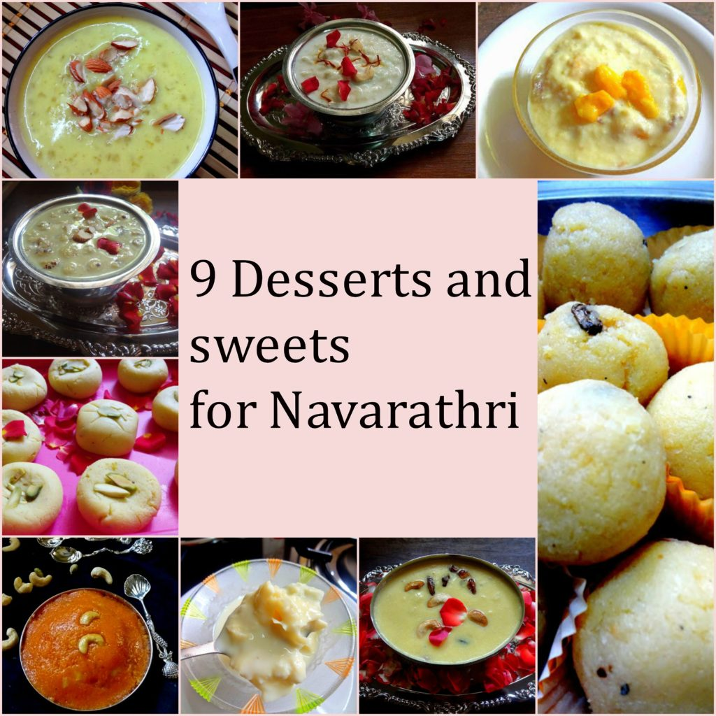 sweets and desserts for Navarathri