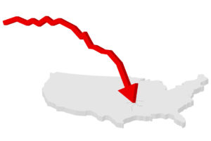 Map of united states with red arrow crashing on it.