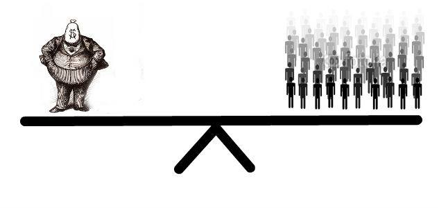 Graphic of a large man in a suite on one side of a see-saw and many smaller people balancing it on the other.